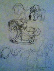 Cadence, a Rocking Horse Winner- rough sketches by jlgarlock