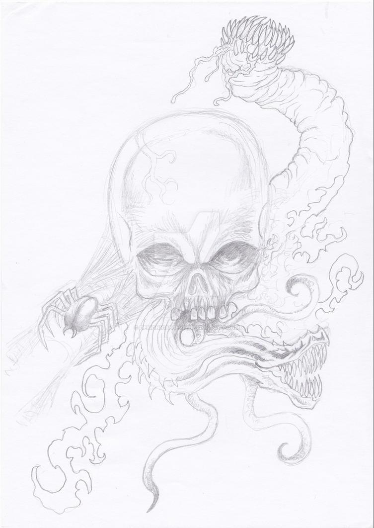 Skull horror pencil sketch wip by demonic666evil