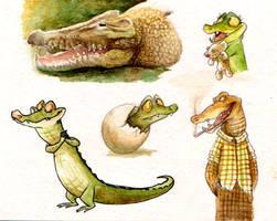 Crocodile doodles by Frozenspots