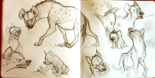 Sketchbook hyenas by Frozenspots