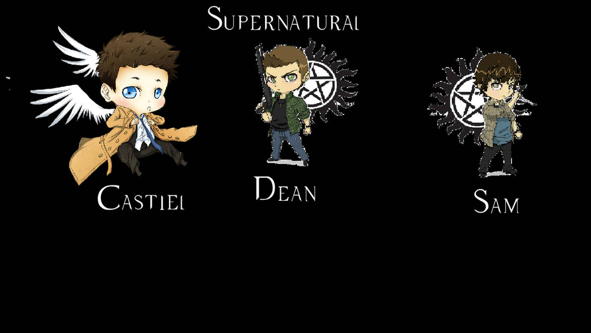 Castiel Dean Sam Chibi Supernatural Background By Tallknight On