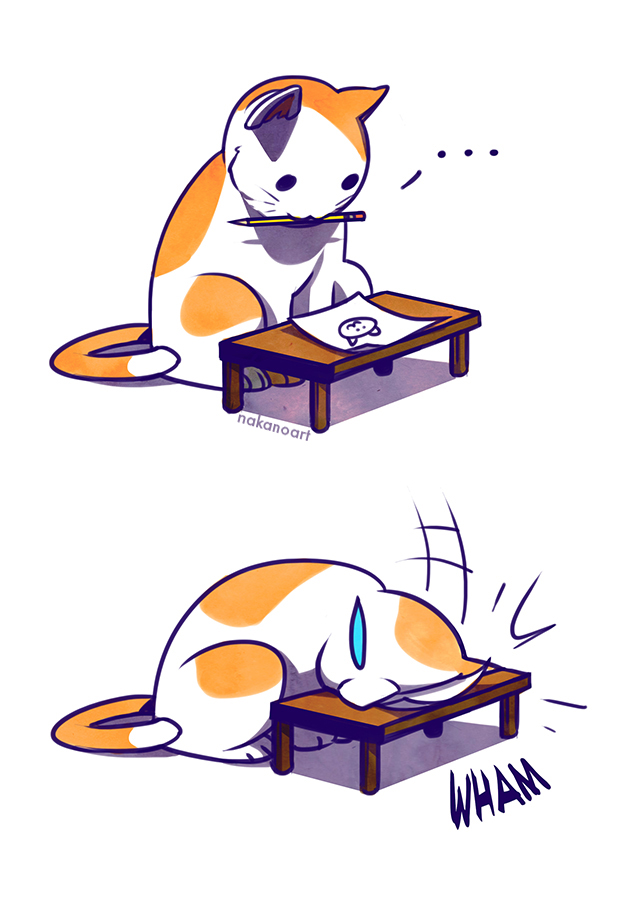Sad Kitty Facedesk by nakanoart