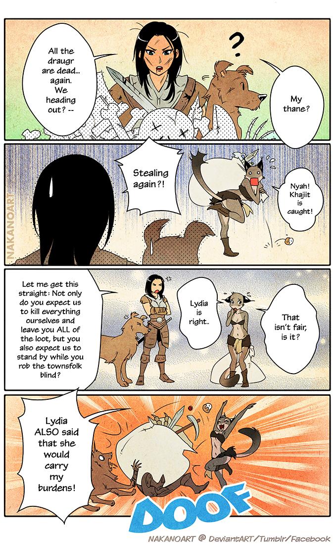 Skyrim: Lydia and Khajiit by nakanoart on DeviantArt
