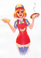 More mustard on your hot dog? by nakanoart