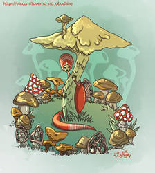 meadow with mushrooms
