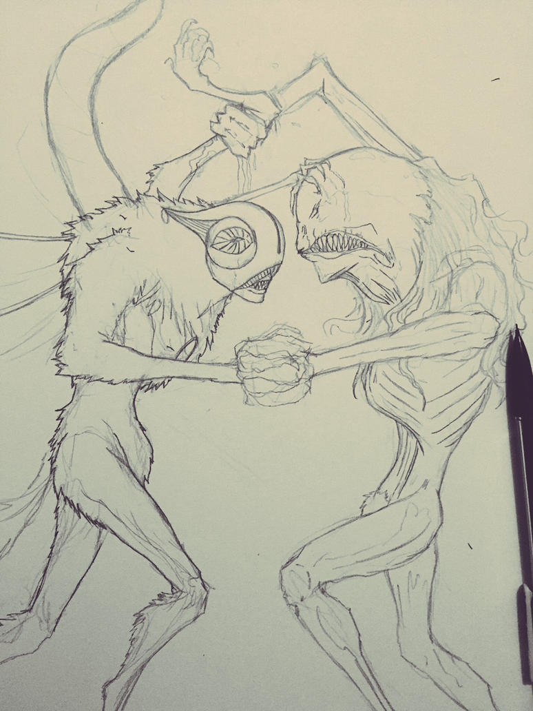 Tosen vs Rawhead Rex wip by Arrancarfighter