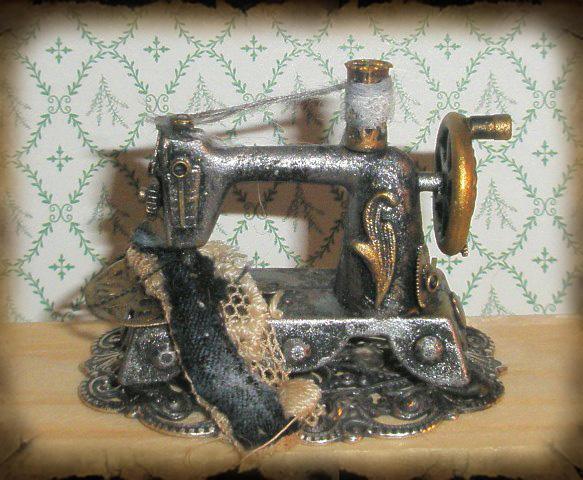 Steampunk Sewing Machine Mini by grimdeva