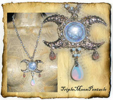 Triple Moon Pentacle Pendant by grimdeva