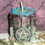 Triple Pentacle Candle