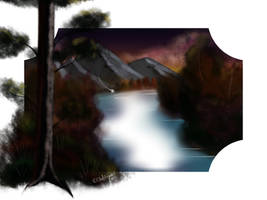 Bob Ross inspired Landscape by ChellizardDraws