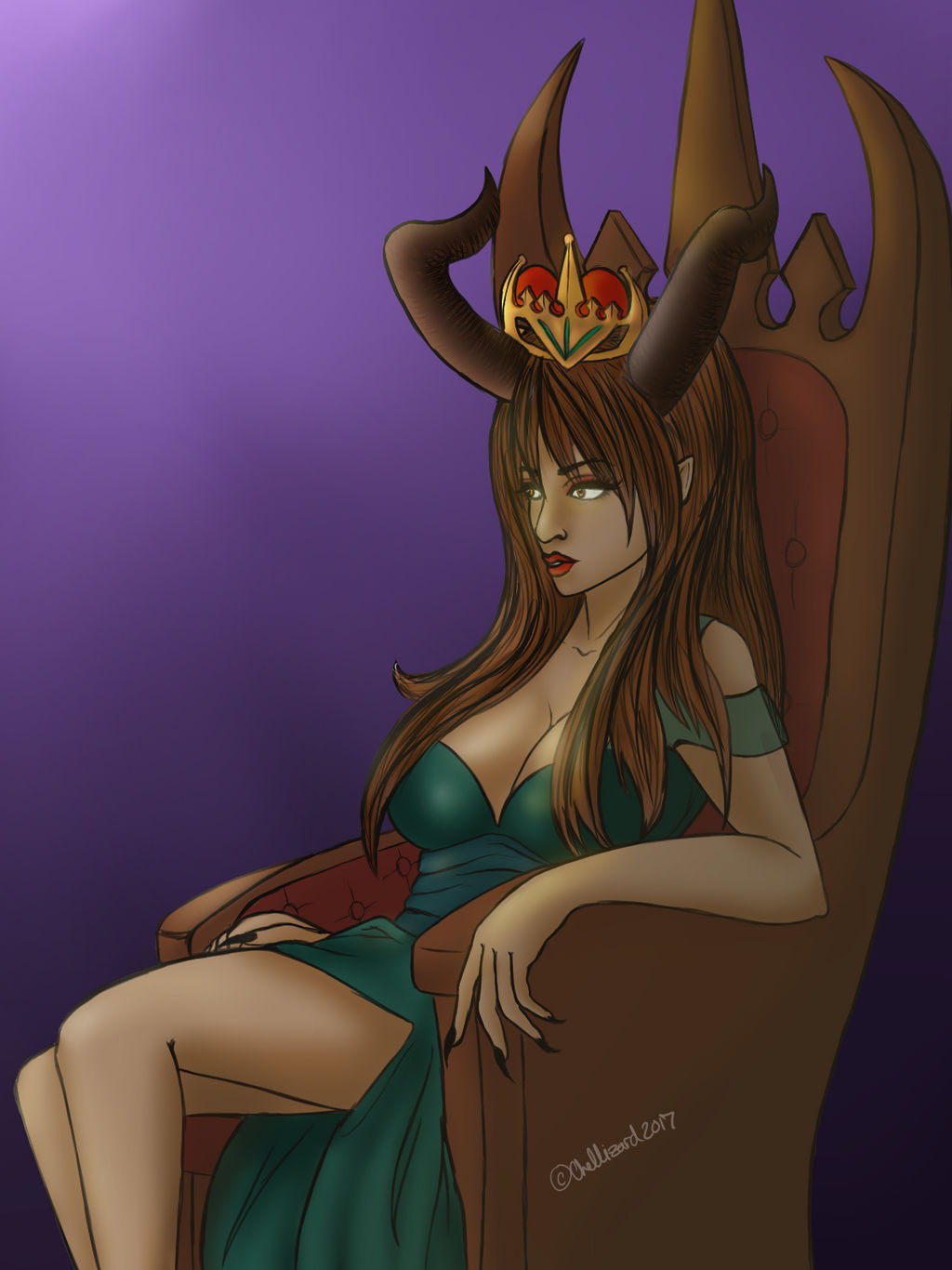 OLD: The Queen and her Throne by ChellizardDraws