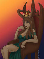 The Queen and her Throne by ChellizardDraws