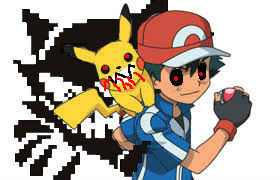Lavender Town Ghost, Pikachu.exe, and Ash by Werefox256