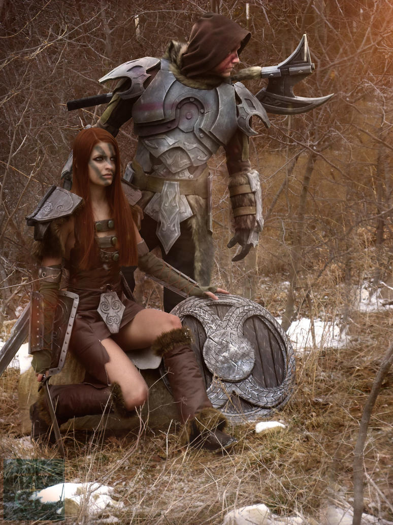 SKYRIM Couple cosplay - The Nords Aela by CpCody