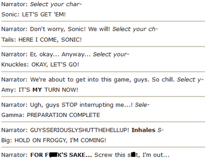 How to annoy Sonic Adventure 1's Narrator by RoseOfTheNight4444