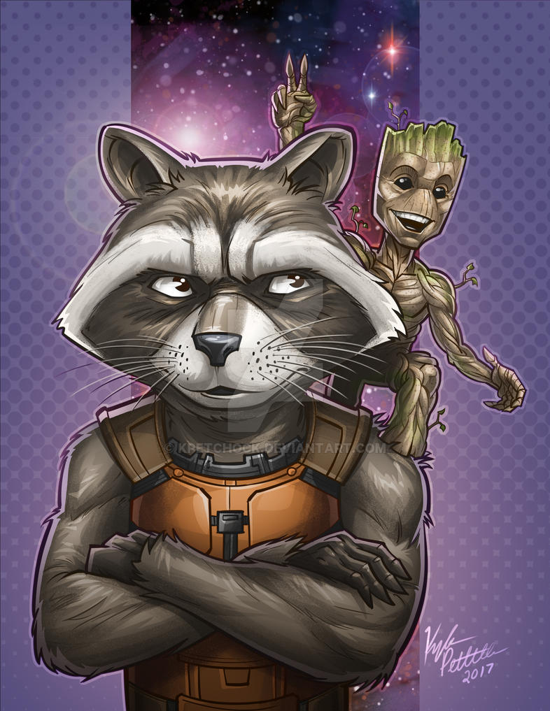 Rocket and Baby Groot by kpetchock