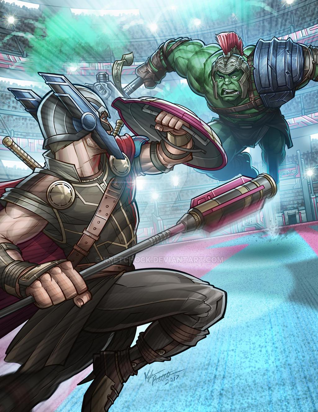 Thor Vs. Gladiator Hulk by kpetchock