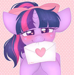 [ fanart ] twilight brought you a letter! by adostume