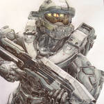 Master Chief Cropped portrait by PatrickRyant