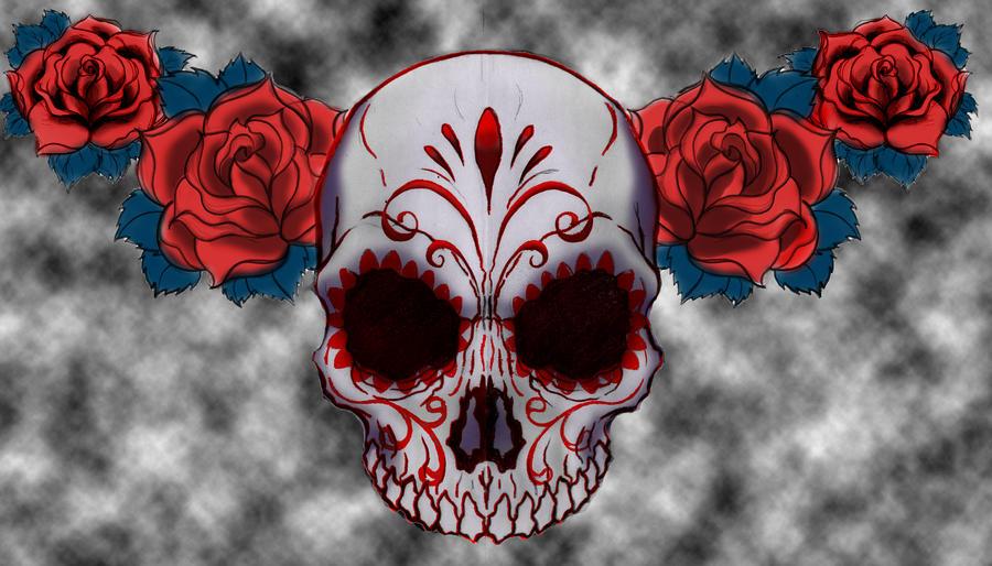 Sugar Skull Tattoo Design with colors by esferograffico