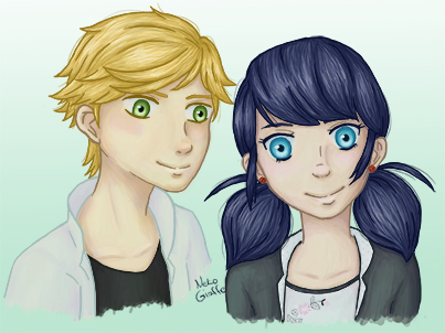 Adrien and Marinette by NekoGiraffe