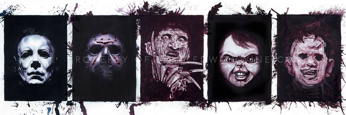 Painted with Wine: Slasher Movie Tributes by Paintedwithwine