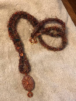 SariSilk Kumihimo Necklace With Wire WrapPendant