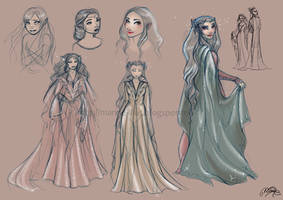 A queen for Thranduil - Sketches by MarineElphie