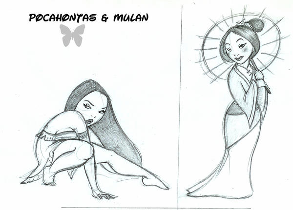 Pocahontas and Mulan by MarineElphie