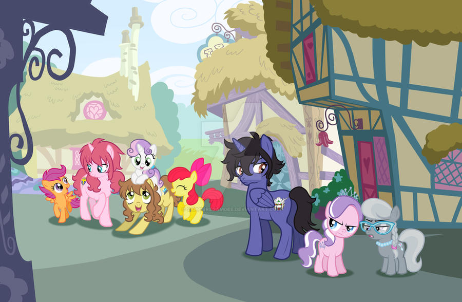 Meeting the Cutie Mark Crusaders by SapphireGamgee