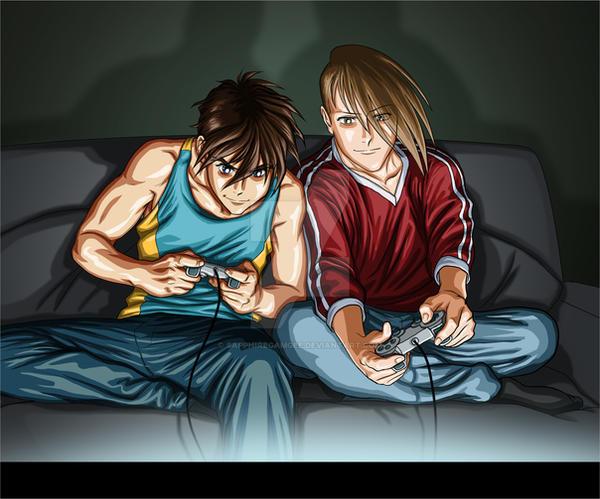 Heero and Trowa- Gamers