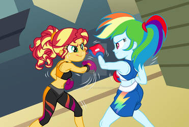 Commission: Sunset Shimmer and Rainbow Dash Boxing
