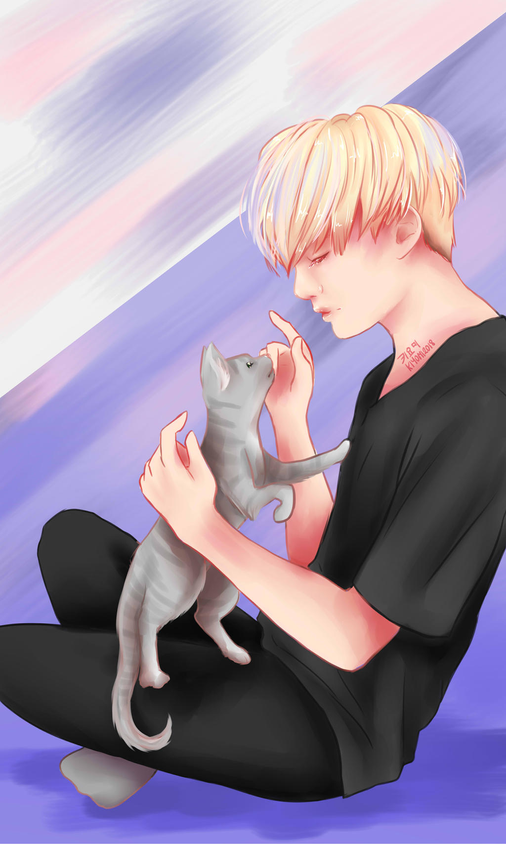 bts suga holding a gray cat wallpaper lockscreen by kiyomit dcgtdo1