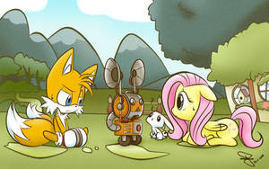 Tails and Fluttershy: I hope they're getting along by FerrumFlos1st