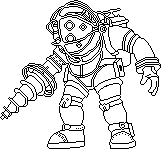 Bioshock Big Daddy Outline WIP by Freshmilk2009