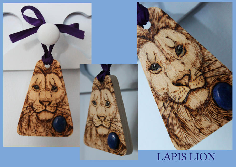 Lapis Lion Pyrography Mini Wallhanging by BumbleBeeFairy