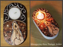 Pyrography - Moon-gazing Hare Tealight Holder