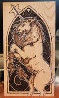 Pyrography - Unicorn on chestnut