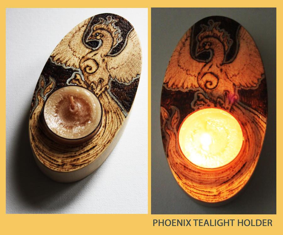 pyrography phoenix tealight holder by bumblebeefairy on deviantart