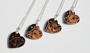 Pyrography Animal Love Heart Pendants