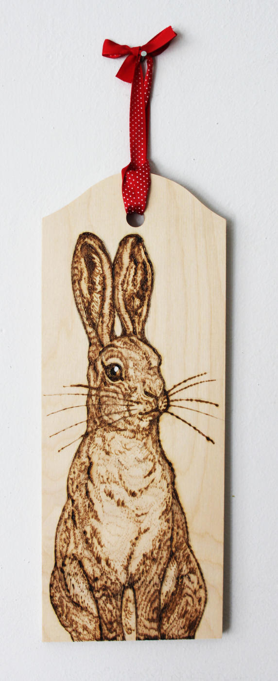 Pyrography Bracken the Hare Wall hanging by BumbleBeeFairy