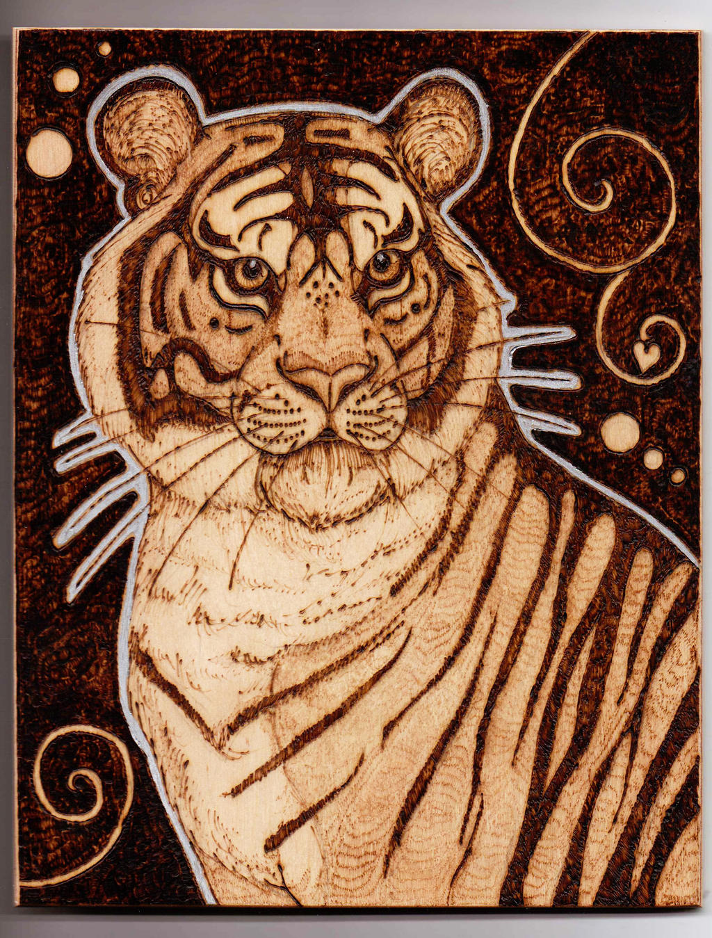 Siberian Tiger Pyrography - Wall Hanging by BumbleBeeFairy