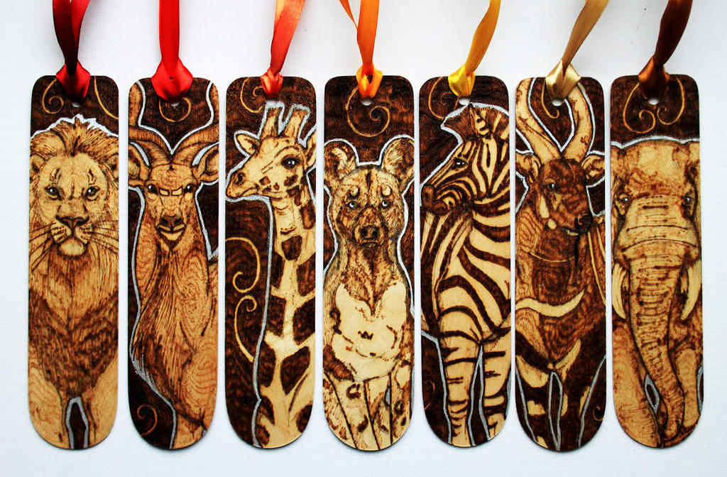Pyrography African Animal Bookmarks by BumbleBeeFairy