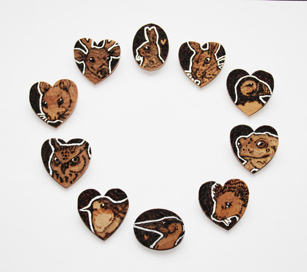 Pyrography - Mini Animal Brooches by BumbleBeeFairy