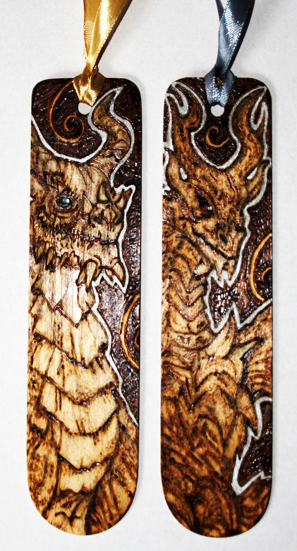 Pyrography Paarthurnax and Alduin bookmarks by BumbleBeeFairy