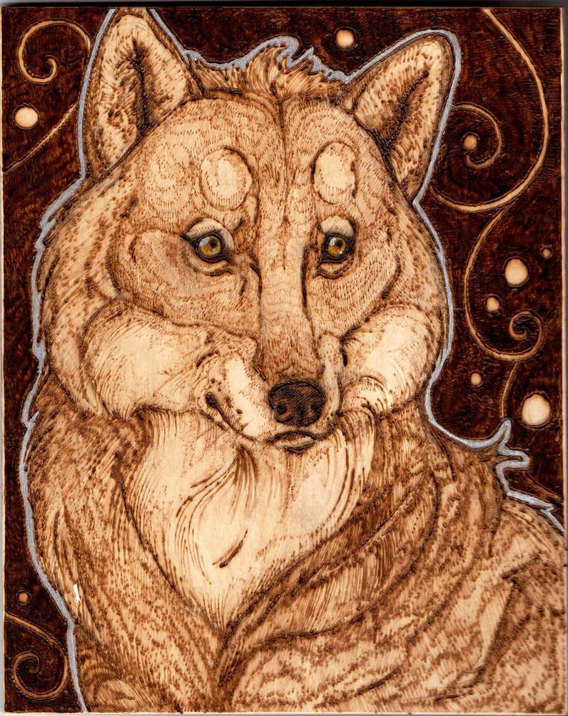 Wolf Wall Hanging Woodburning by BumbleBeeFairy