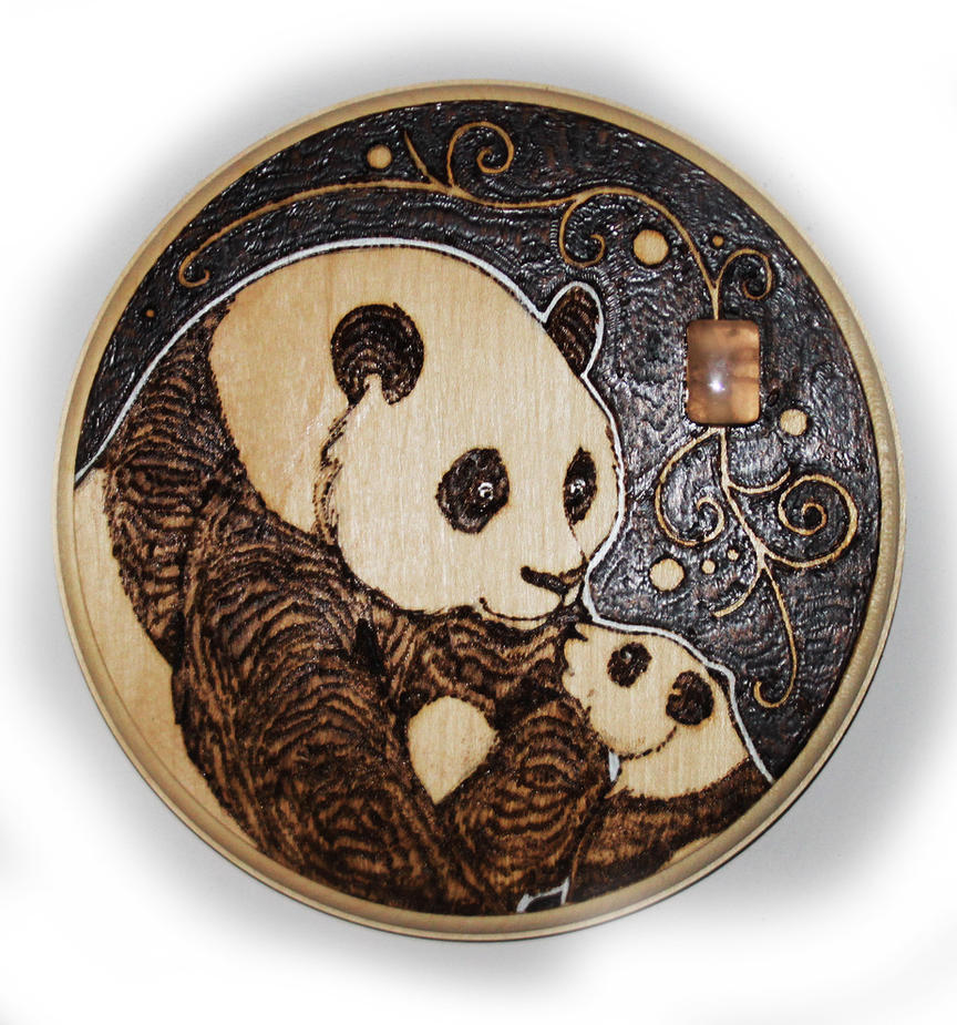 Panda Bear Plaque with Rose Quartz by BumbleBeeFairy