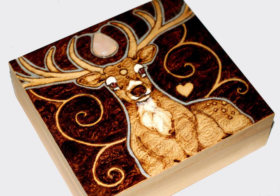 Rose Quartz Stag Box by BumbleBeeFairy