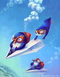 Penguins on a Plane by KPetrasko