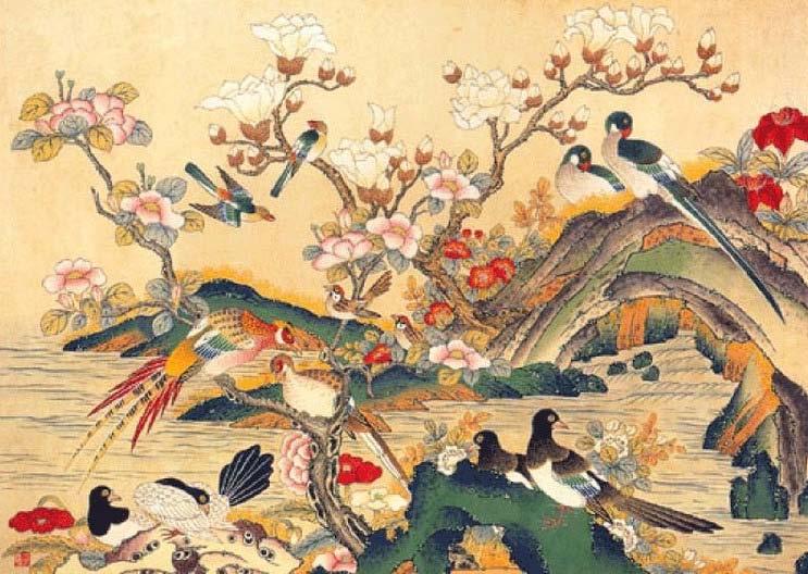 Minwha(Korean Folk art)-Flowers and birds by kimsingu